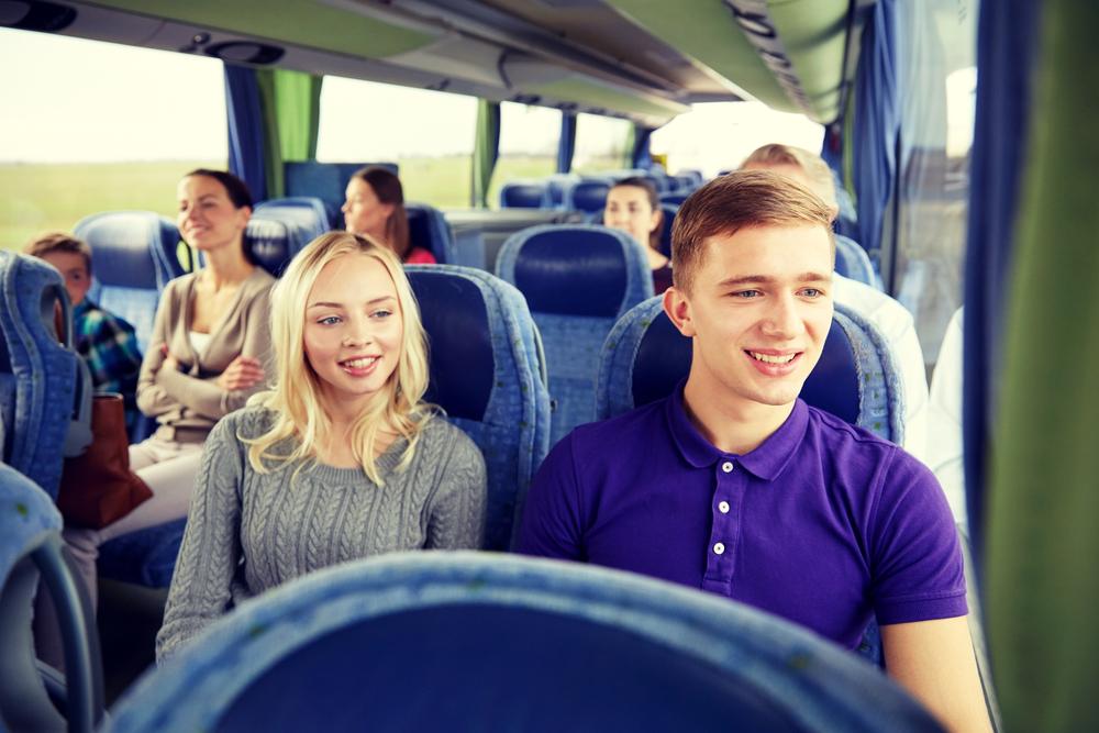 take a bus on a school field trip